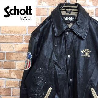 schott - 【ショット】レザージャケット リアルレザー スタジャン 刺繍ロゴ ワッペン