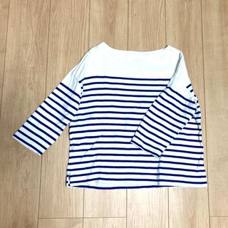 ムジルシリョウヒン(MUJI (無印良品))の無印良品 パネルボーダーTシャツ ブルー(Tシャツ(長袖/七分))