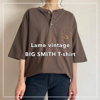 Santa Monica - 古着 BIG SMITH ビッグスミス ヘンリーネック Tシャツ ブラウン