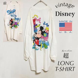 ディズニー(Disney)の90s ディズニー ミッキー&ミニー ロンT USA製 オーバーサイズ キャラT(Tシャツ(長袖/七分))