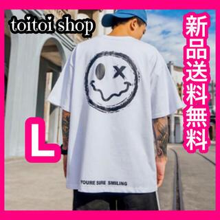 SALE! 韓国ファッション オーバーサイズ バックプリント Tシャツ 白 L (Tシャツ/カットソー(半袖/袖なし))