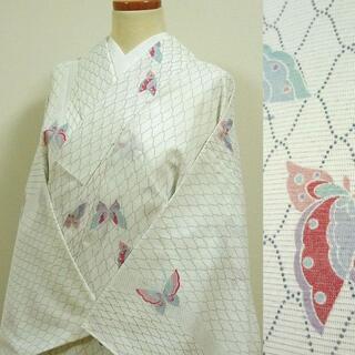 夏着物 白地に網目文様と蝶 洗える小紋(着物)