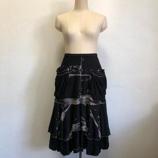 エイココンドウ スカート ギャザー ワイヤー 黒(ロングスカート)