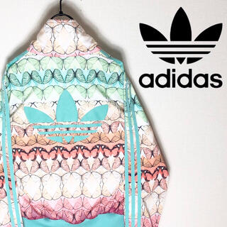 アディダス(adidas)のadidas アディダス ジャージ ブルゾン 花柄 バタフライ 大きめ 美品(ブルゾン)