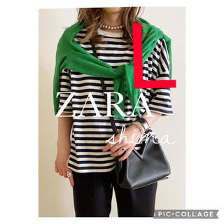 ザラ(ZARA)のZARA アシンメトリーオーバーサイズTシャツ ストライプTシャツ ボーダー(Tシャツ(半袖/袖なし))