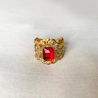 グリモワール(Grimoire)の୨୧ Vintage rétro Red Crystal Lace Ring(リング)