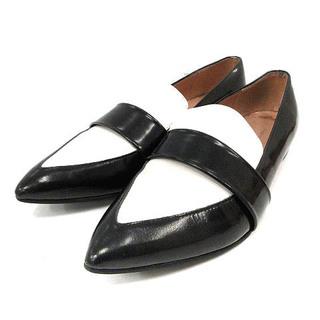 ファビオルスコーニ(FABIO RUSCONI)のファビオルスコーニ ローファー シューズ 35 22.5cm 黒 白(ローファー/革靴)