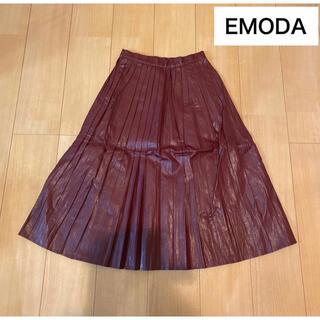 エモダ(EMODA)の【EMODA】革 レザーブリーツスカート タグ付き(ロングスカート)