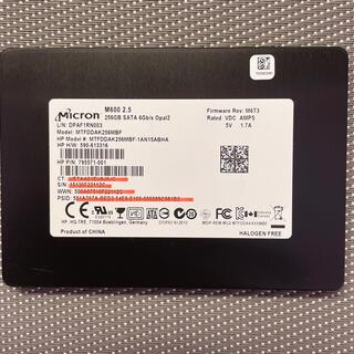 Micron SSD 2.5インチSATA 256GB使用時間1186h(PCパーツ)