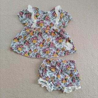 hakka baby - notsobig m(70-80)花柄セットアップ