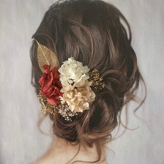 ドライフラワー ヘッドパーツ 髪飾り ヘアアクセサリー 結婚式 和装 前撮り(ヘッドドレス/ドレス)