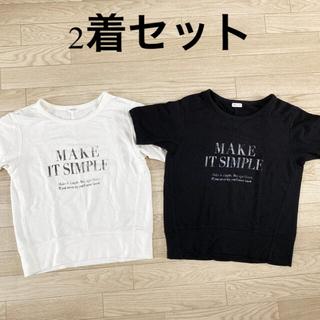 プラステ(PLST)の2着セット!PLST プラステ ストレッチ 半袖 カットソー 黒 白 Mサイズ(Tシャツ(半袖/袖なし))