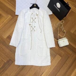 シャネル(CHANEL)のCHANEL シャネル CCロゴ コットン ツイード ドレス ワンピ(ミニワンピース)