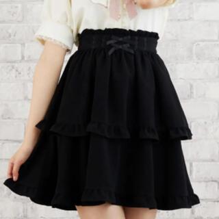 リズリサ(LIZ LISA)のLIZ LISA リズリサ 後ろリボンカシュクールスカート ブラック 黒(ミニスカート)
