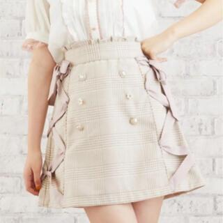 リズリサ(LIZ LISA)のLIZ LISA リズリサ サイドレースアップ ビジュー 台形スカート ベージュ(ミニスカート)