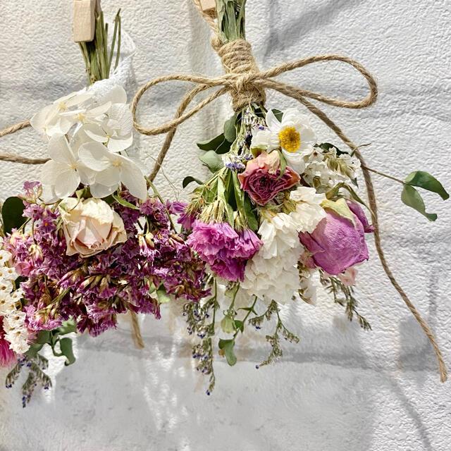 ドライフラワー スワッグ ガーランド❁283 薔薇 ピンク 紫陽花 白 花束♪ ハンドメイドのフラワー/ガーデン(ドライフラワー)の商品写真