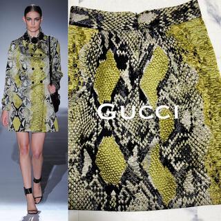 グッチ(Gucci)の14.SS.col GUCCI/グッチ スカート シルク混み・パイソン_美品(ひざ丈スカート)