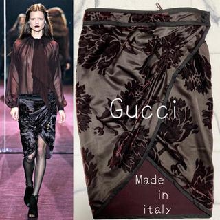 グッチ(Gucci)の11.12col GUCCI/グッチ シルク混み_ 膝丈スカート 美品 花柄(ひざ丈スカート)
