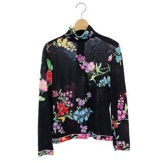 LEONARD - レオナール LEONARD カットソー ウール シルク混 長袖 ハイネック 花柄