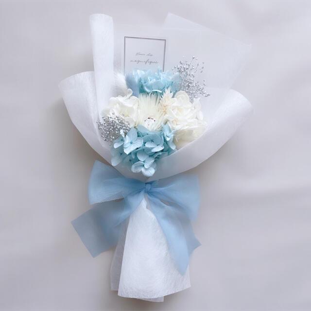 ブルー系 ドライフラワー 花束 ブーケ スワッグ ギフト プリザ ハンドメイドのフラワー/ガーデン(ドライフラワー)の商品写真