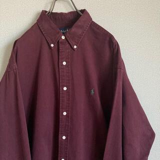 ポロラルフローレン(POLO RALPH LAUREN)の90s ラルフローレン BDシャツ XL ワインレッド×緑 ゆるだぼ(シャツ/ブラウス(長袖/七分))