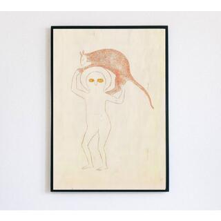 【アートポスター】レトロ ベージュ 抽象画 選べるサイズ おしゃれ(アート/写真)