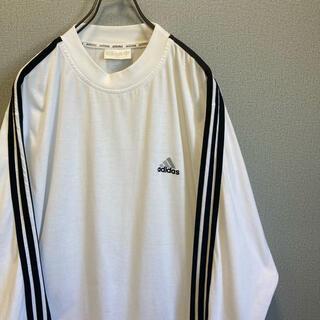 アディダス(adidas)の90s アディダス ロンT 刺繍ロゴ 白×黒 ゆるだぼ vintage(Tシャツ(長袖/七分))