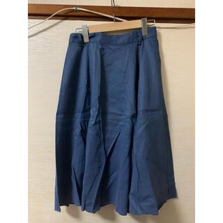 オフオン(OFUON)のオフオン フレアスカート 膝丈 38サイズ ブルー(ひざ丈スカート)