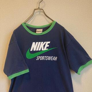 ナイキ(NIKE)の90s NIKE リンガー Tシャツ ネイビー×緑 ゆるだぼ vintage(Tシャツ(半袖/袖なし))
