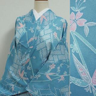夏着物 水色に笹と桜 洗える小紋(着物)