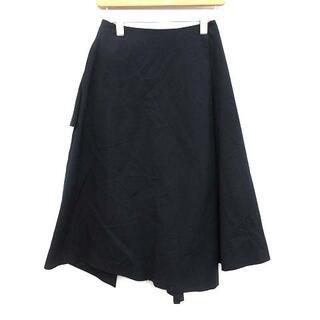 エンフォルド(ENFOLD)のエンフォルド 18SS スカート フレア ロング 変形 36 S 紺(ロングスカート)
