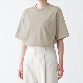ムジルシリョウヒン(MUJI (無印良品))のMUJI 無印良品 インド綿二重編みビッグTシャツ 男女兼用S~Mカーキベージュ(Tシャツ(長袖/七分))