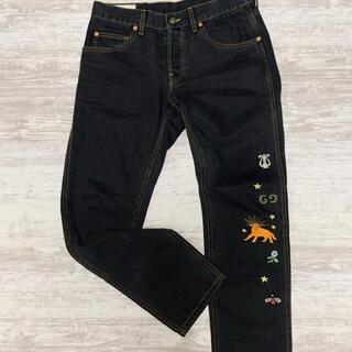 Gucci - GUCCI グッチ エンブロイダリー デニム 蜂 ディア 刺繍 32 ブラック