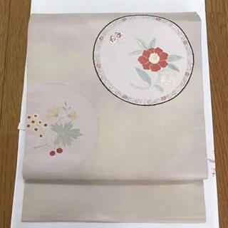 お花柄 ピンク×ベージュ 正絹名古屋帯(帯)