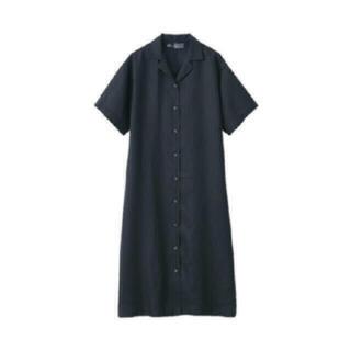 ムジルシリョウヒン(MUJI (無印良品))の無印良品 新品 フレンチリネン五分袖開襟ワンピース(ロングワンピース/マキシワンピース)