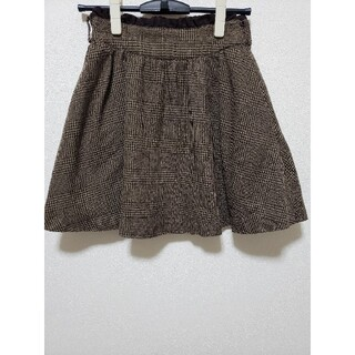 グレンチェック チェック ブラウン 茶色 フレアスカート ミニスカート