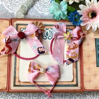 ディズニー(Disney)のヘアゴム ディズニープリンセス 薔薇 ハンドメイド リボン キッズ 3点セット(ヘアアクセサリー)