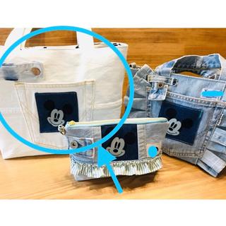 ディズニー(Disney)のミッキー ❤️ デニム  ハンドメイドバッグ リメイクバッグ トートバッグ(トートバッグ)