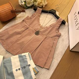 マルニ(Marni)のマルニ ピンクのストライプのトップス(シャツ/ブラウス(半袖/袖なし))