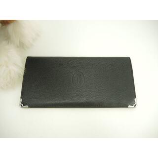 Cartier - カルティエ カード用ポケット付2つ折長札入 マルチェロ レザー黒 美品@ECVL