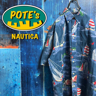 NAUTICA - 【ノーティカ】セーリングヨット柄半袖総柄シャツ 90s