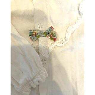 ニットプランナー(KP)のKP ケーピー ロンパース  ツーウェイオール 新生児 60cm 白 花柄リボン(カバーオール)