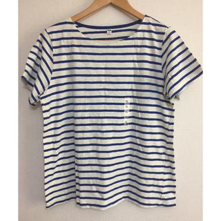 ユニクロ(UNIQLO)の【ユニクロ/UNIQLO】ボーダークルーネックTシャツXL(ブルー)無印(Tシャツ(半袖/袖なし))