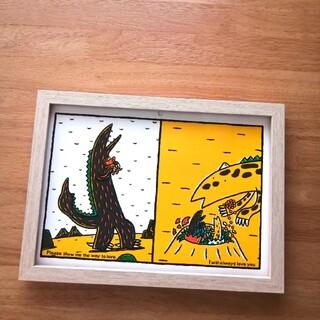 ③宮西達也 絵本イラスト ティラノサウルス  絵画ポスターアートパネル 絵 B5(アート/写真)