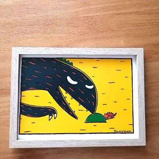 ⑤宮西達也 絵本イラスト ティラノサウルス  絵画ポスターアートパネル 絵 B5(アート/写真)
