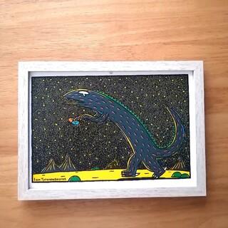 ⑥宮西達也 絵本イラスト ティラノサウルス  絵画ポスターアートパネル 絵 B5(アート/写真)