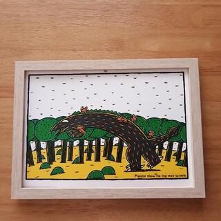 ⑦宮西達也 絵本イラスト ティラノサウルス  絵画ポスターアートパネル 絵 B5(アート/写真)