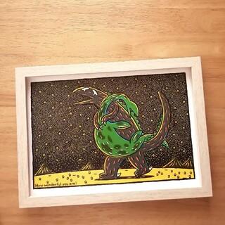 ⑧宮西達也 絵本イラスト ティラノサウルス  絵画ポスターアートパネル 絵 B5(アート/写真)