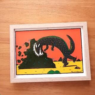 ⑬宮西達也 絵本イラスト ティラノサウルス  絵画ポスターアートパネル 絵 B5(アート/写真)