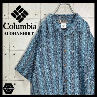 Columbia - 【レア】Columbia/コロンビア アロハ 半袖 開襟 刺繍ロゴ シルク XL